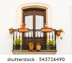 balcony with pots | Shutterstock . vector #543726490