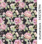 watercolor floral pattern of... | Shutterstock . vector #543728794