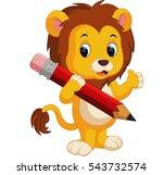 cute lion cartoon holding pencil   Shutterstock .eps vector #543732574