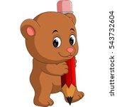 cute bear cartoon holding pencil | Shutterstock .eps vector #543732604