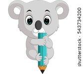 cute koala holding pencil   Shutterstock .eps vector #543734200