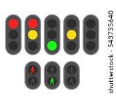 set of traffic lights. flat... | Shutterstock .eps vector #543735640
