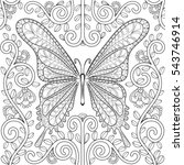 adult coloring book with... | Shutterstock . vector #543746914