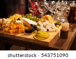 cheese and wine tasting party | Shutterstock . vector #543751090