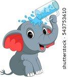 cute elephant holding glass | Shutterstock . vector #543753610