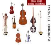 vector set of string bowed... | Shutterstock .eps vector #543757618