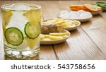 cold water with ice  ginger... | Shutterstock . vector #543758656