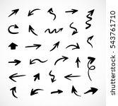 hand drawn arrows  vector set | Shutterstock .eps vector #543761710