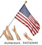 team of peoples hands raising... | Shutterstock . vector #543763444