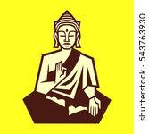 stylized sitting buddha... | Shutterstock .eps vector #543763930