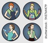 set of women's professions .... | Shutterstock .eps vector #543764479