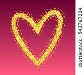 vector gold heart on red...   Shutterstock .eps vector #543767224