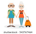 grandfather and grandmother... | Shutterstock .eps vector #543767464