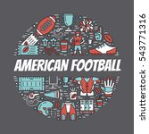American Football Banner With...