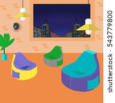 bean bag chair with city view...   Shutterstock .eps vector #543779800