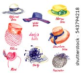 lady's hats types  upturned... | Shutterstock . vector #543794218
