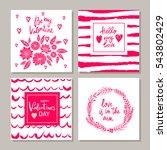set of valentines day postcards.... | Shutterstock .eps vector #543802429
