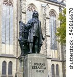 Small photo of Bach monument stands since 1908 in front of the St Thomas Kirche church where Johann Sebastian Bach is buried in Leipzig Germany