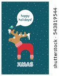 vector xmas cute greeting card... | Shutterstock .eps vector #543819544