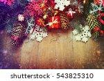 christmas fir tree on wooden... | Shutterstock . vector #543825310