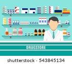 modern interior pharmacy or... | Shutterstock .eps vector #543845134