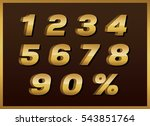 templates 3d  figures of gold... | Shutterstock .eps vector #543851764