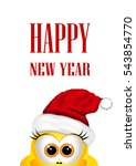 postcard with chickens in santa ... | Shutterstock .eps vector #543854770