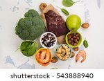 healthy food  sources of folic... | Shutterstock . vector #543888940