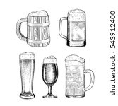 vector set of beer glasses and... | Shutterstock .eps vector #543912400