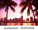 Miami Florida Skyline And Bay...