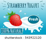 strawberry yogurt  100  percent ... | Shutterstock .eps vector #543922120