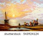 fisherman boat  paintings oil ... | Shutterstock . vector #543924124