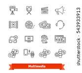 Multimedia Thin Line Art Icons...