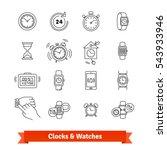 clocks   watches. thin line art ... | Shutterstock .eps vector #543933946