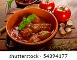 Bowl With Meatballs And Tomato...