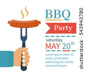 invitation card on the barbecue.... | Shutterstock .eps vector #543943780