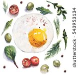 watercolor food and vegetables... | Shutterstock . vector #543953134