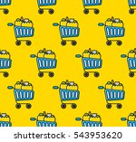 shopping trolley and bags. flat ... | Shutterstock .eps vector #543953620