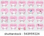 cartoon white rabbit face set | Shutterstock .eps vector #543959224