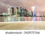 empty floor with modern skyline ... | Shutterstock . vector #543975766