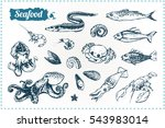 Sketch Doodle Icons Seafood  ...