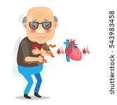 cartoon elderly man with chest... | Shutterstock .eps vector #543983458