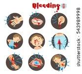 cartoon bleeding in a circle on ... | Shutterstock .eps vector #543989998