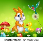 Stock vector cute animals easter eggs on green grass 544031953