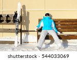 woman resting after skiing. ski ... | Shutterstock . vector #544033069