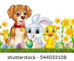cartoon funny animals and... | Shutterstock .eps vector #544033108