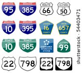 road sign interstate glossy... | Shutterstock . vector #54403471
