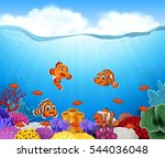 cartoon clown fish in the  | Shutterstock .eps vector #544036048