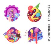 happy birthday numbers vector... | Shutterstock .eps vector #544036483