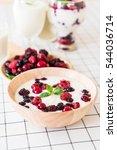 yogurt with mixed berries on...   Shutterstock . vector #544036714